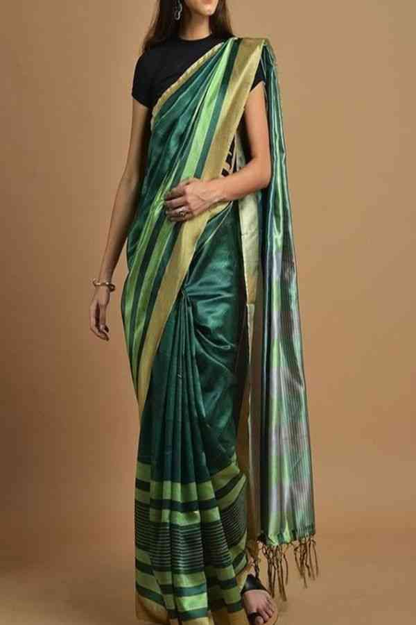 Unique Dark Green Colored Traditional Soft Silk Festive Wear Saree - CD295