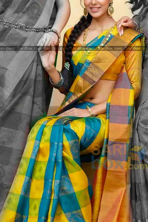 Snazzy Yellow Colored Checks Pattern Traditional Soft Silk Festive Wear Saree - CD312