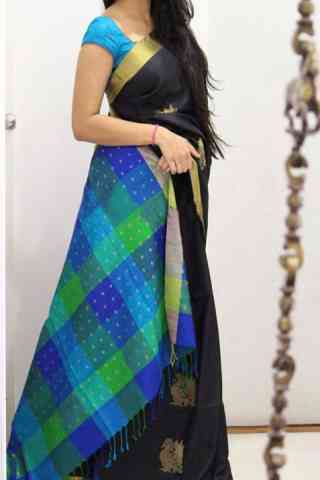 Pretty Black Color Soft Silk Designer Sarees - SB1023  30""