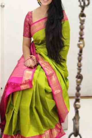 Pretty Green Color Soft Silk Designer Sarees - SB1024