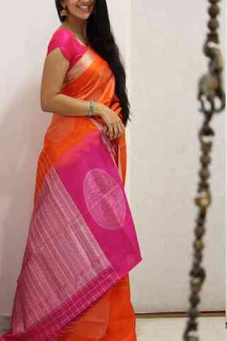 Admirable Orange And Pink Color Soft Silk Designer Sarees - SB1027