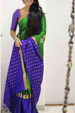Vibrant  Violet Color Soft Silk Designer Sarees - SB1035