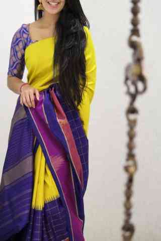Stylish Yellow And Purple Color Soft Silk Designer Sarees - SB1049
