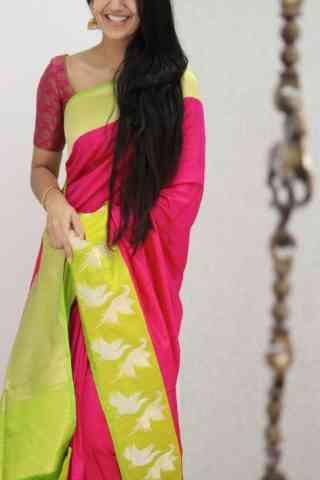 Flawless Pink Color Soft Silk Designer Sarees - SB1055