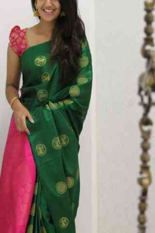 Elegance Green Color Soft Silk Designer Sarees - SB1060