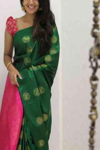 "Elegance Green Color Soft Silk Designer Sarees - SB1060  30"""