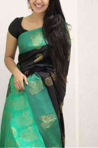 Glorious Black Color Soft Silk Designer Sarees-SB1065