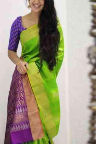 "Dreamy Green Color Soft Silk Designer Sarees-SB1068  30"""