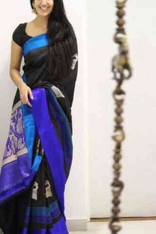 Dynammic Black Color Soft Silk Designer Sarees-SB1071