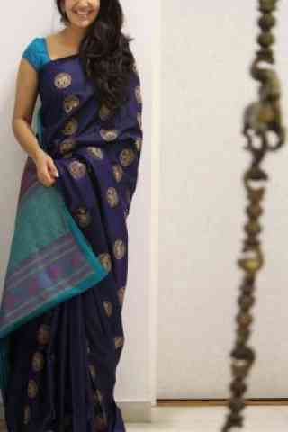 Glammrous Blue Color Soft Silk Designer Sarees-SB1075