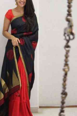 Beautiful Black And Red Color Soft Silk Saree - SB1087  30""