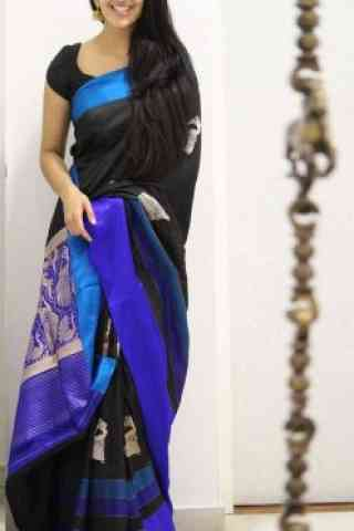 Fabulous Black Color Soft Silk Saree - SB1092