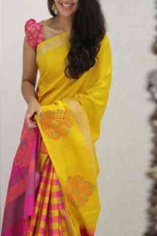 Delightful Yellow And Pink  Color Soft Silk Saree - SB1093  30""