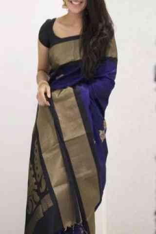 Graceful  Blue  Color Soft Silk Saree - SB1097  30""