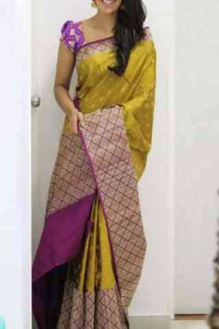 Pretty  Yellow  Color Soft Silk Saree - SB1099  30""