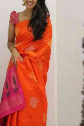 Glammrous Orange Color Soft Silk Designer Wear Saree - SB1104