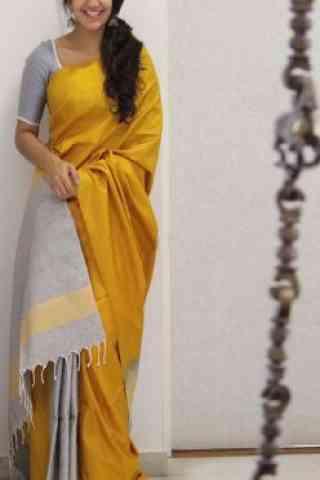 "Fashionable Yellow Color Soft Silk Designer Wear Saree - SB1106  30"""