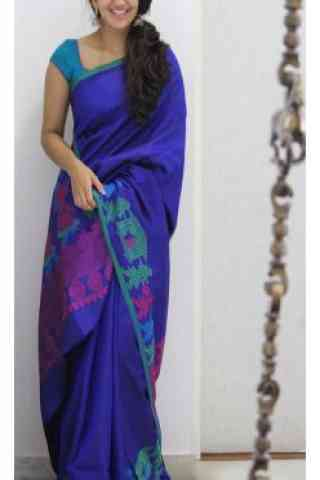 Sizzling Blue Color Soft Silk Designer Wear Saree - SB1107