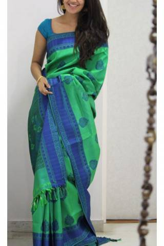 Divine Green Color Soft Silk Designer Sarees - SB1120  30""