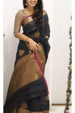 Delightful Black Color Soft Silk Designer Sarees - SB1123
