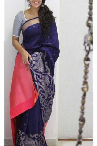Forever Blue Color Soft Silk Designer Sarees - SB1142  30""