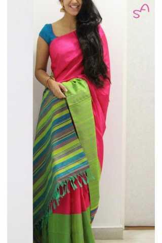 "Unique Pink Color Soft Silk Saree - SB1160  30"""