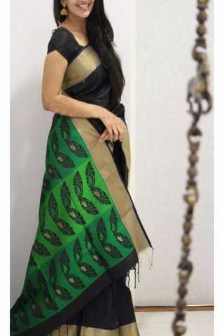 Unique Black N Green Color Soft Silk Saree - SB1171  30""