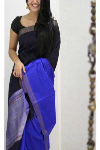 Unique Black N Blue Color Soft Silk Saree - SB1176