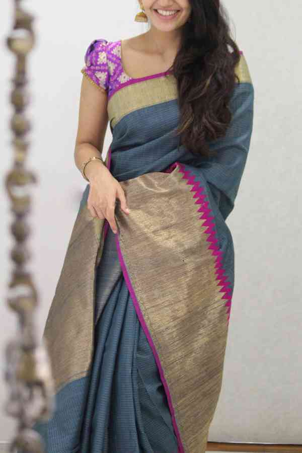 Marvellous Golden - Pink Colored Soft Silk Party Wear Saree  30""