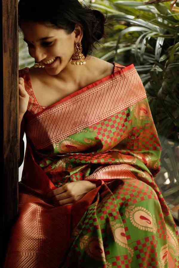 Exceptional Green Colored Soft Silk Party Wear Saree  30""