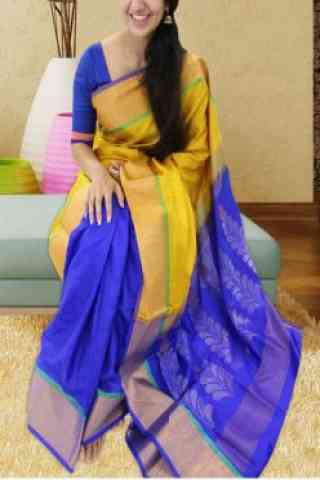 Forever Yellow N Blue Color Soft Silk Saree - SB589  30""