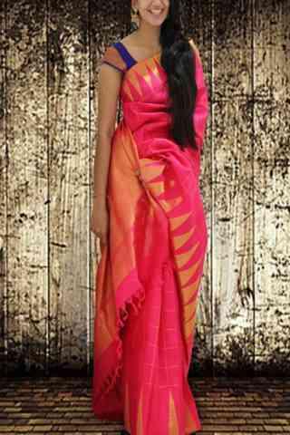 "Ultimate Pink Color Soft Silk Saree - SB590  30"""