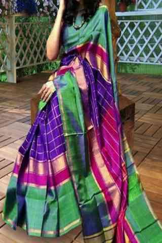 "Adorning Multi Color Pattern Soft Silk Saree - SB604  30"""