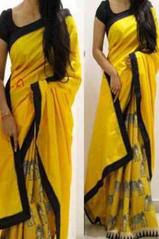 Heavy  Yellow Color Soft Silk Designer Sarees-SB642  30""