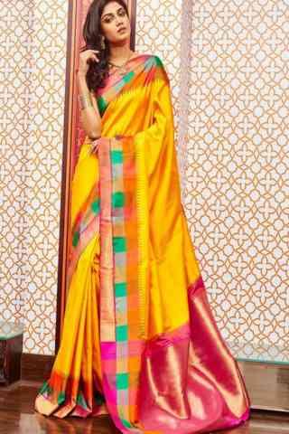 "Fashionable Yellow Color Soft Silk Designer Sarees - SB658  30"""