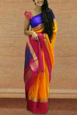 Unique Yellow Color Soft Silk Designer Sarees - SB665  30""