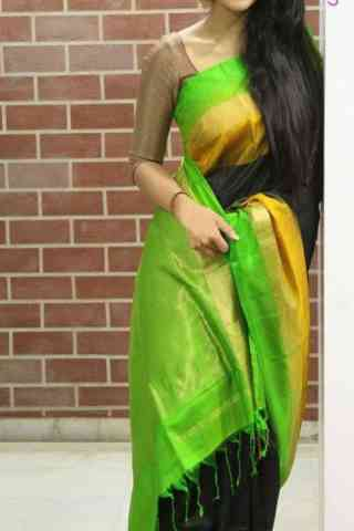 Beautiful Black n Green  Color Soft Silk Designer Sarees - SB679