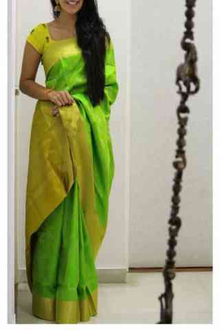 Green Color Soft Silk Designer Sarees - SB684