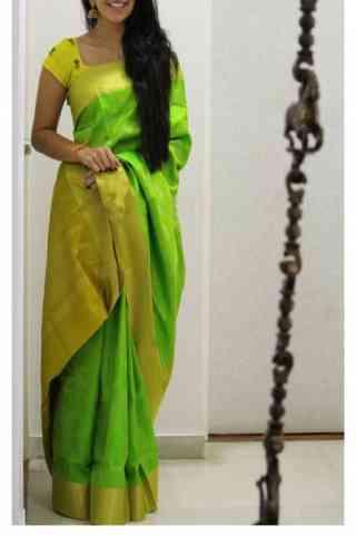 "Green Color Soft Silk Designer Sarees - SB684  30"""