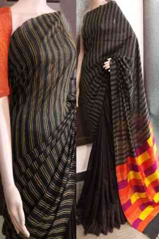 Eye Catching Black Color Soft Silk Saree - SB735