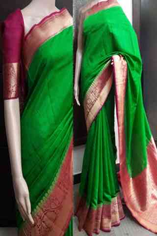 Mind Blowing Green Color Soft Silk Saree - SB737  30""