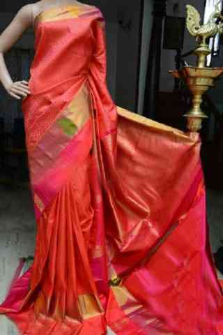 Royal Orange Color Soft Silk Designer Sarees - SB882