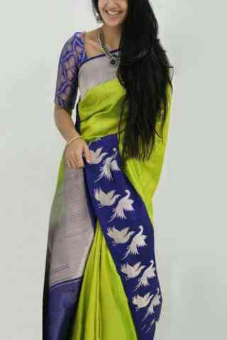 Charming Green And Blue Color Soft Silk Designer Sarees - SB898  30""