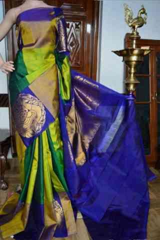 "Modern Green Color Soft Silk Designer Sarees - SB930  30"""