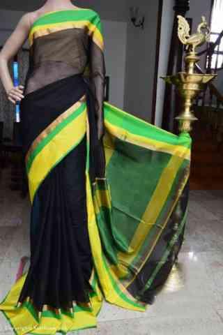 "Mind Blowing Black Color Soft Silk Designer Sarees - SB954  30"""