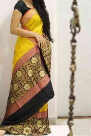 Modern Yellow Color Soft Silk Designer Sarees - SB957