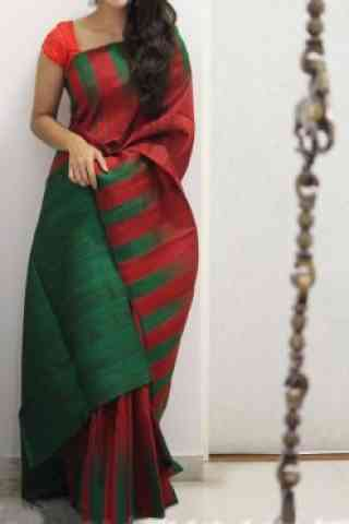 Modern Red And Green Color Soft Silk Designer Sarees - SB961
