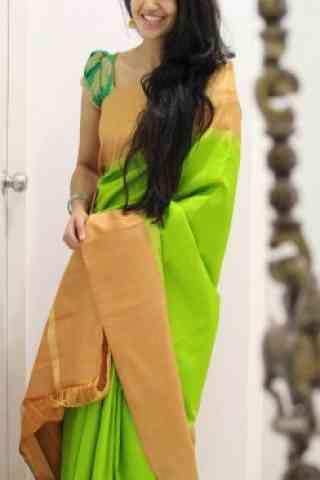 "Beautiful Green Color Soft Silk Designer Sarees - SB964  30"""