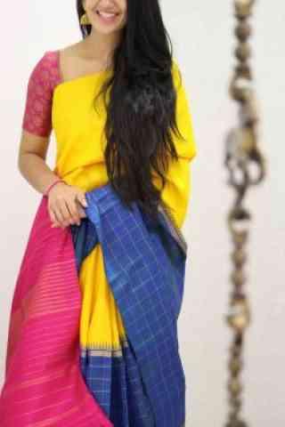 "Stylish Multi Color Soft Silk Designer Sarees - SB967  30"""