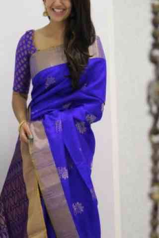 Attractive blue Color Soft Silk Designer Sarees - SB978